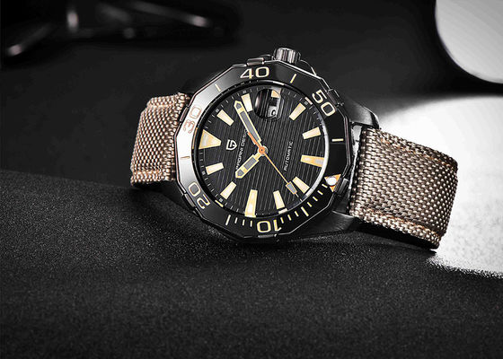 10atm Waterproof Sport Automatic Mechanical Watch Canvas Strap 22mm