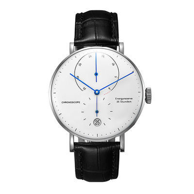 Marble Men'S Automatic Mechanical Watch Leather Strap With Luxury Dome Crystal
