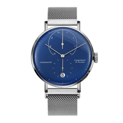 Magnet Mesh Strap Automatic Mechanical Watch With Date Curve Blue Dial