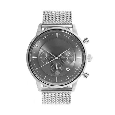 Light Grey Face Stainless Steel Wrist Watch , Mens Stainless Steel Chronograph Watches
