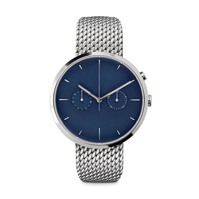 Ladies Watches Blue Face Stainless Steel Case , Ladies Silver Tone Watches