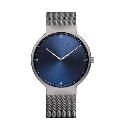 Sanded Grey Mens Metal Strap Watches With Blue Face Japanese Quartz