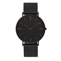 Blank Face Black Stainless Steel Mens Watch With Quick Change Mesh Band