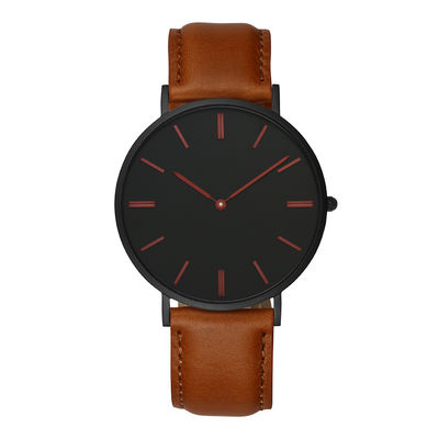 Brown Mens Stainless Steel Watches Leather Quick Release Watch Strap