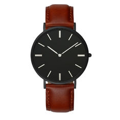Matte Black Watch Mens Leather Strap Watches With 2 Years Warranty