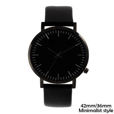 Polished Black Case Minimalist Waterproof Watch , Minimalist Leather Watch
