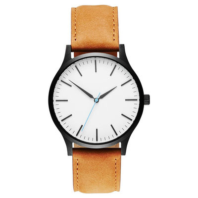 China Custom Mens Stainless Steel Watches Leather Strap / Japanese Quartz supplier