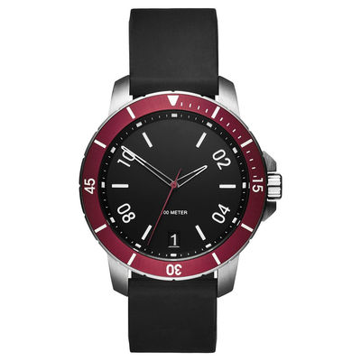 Waterproof Simple Luxury Watches , Understated Mens Watches Black Silicone Strap