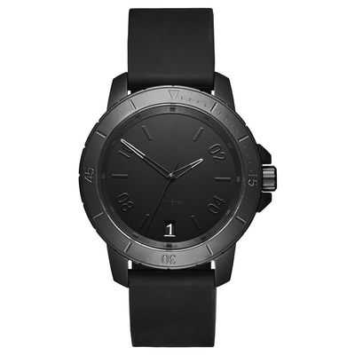 Modern Black Minimalist Waterproof Watch Mineral Crystal With Stainless Steel Case