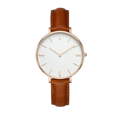 High End Ladies Watches Leather Strap Big Face PVD Coating Color