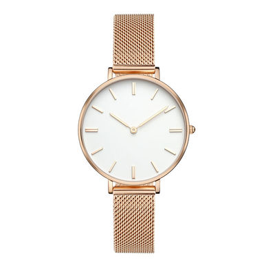 Mesh Band Ladies Stainless Steel Watches Japanese Quartz Movt Rose Gold Plated