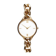 PVD Gold Plated Ladies Designer Bracelet Watches Water Resistant Egg White Face