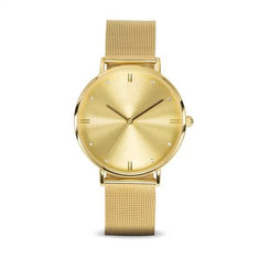 Gold Coating Diamond Face Watch Waterproof Under 30m Meter Private Label