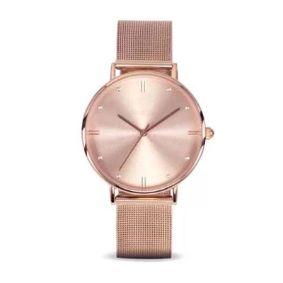 Simple Style Diamond Face Watch , Rose Gold Diamond Watch Womens Mesh Band