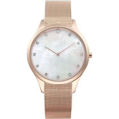 Elegant Ladies Designer Diamond Watches Pearl Shells 30m Water Resistant
