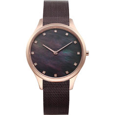 Black Shell Diamond Face Watch , Diamond Wrist Watch With Mesh Strap