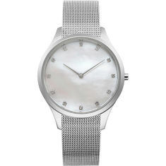 Stainless Steel Womens Silver Diamond Watch Ladies Diamond Dress Watches