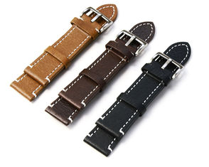 Vintage Style Leather Replacement Watch Bands With Stitching , 20mm Width