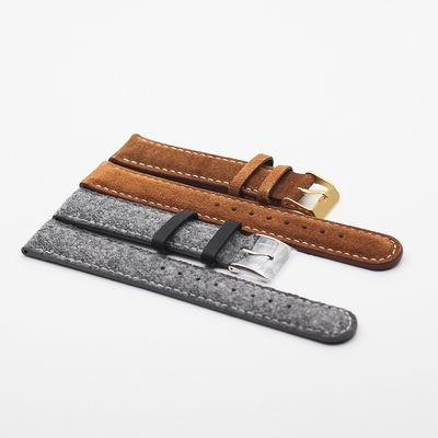 Branded Watch Band Replacement Fabric Cloth Genuine Leather Band With Quick Release Spring