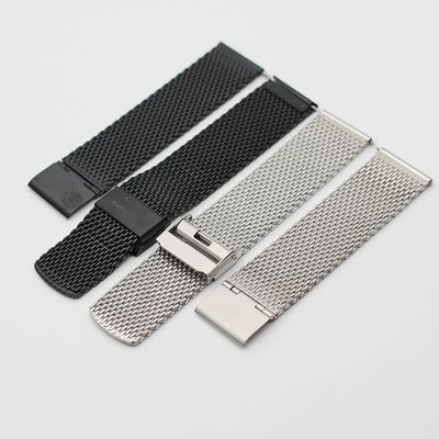 China Stainless Steel Mesh Watch Band Replacement Black Bracelet 14/18/20mm supplier