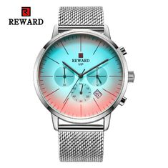 China wholeasale stainless steel mens watches chronograph watch with mesh strap