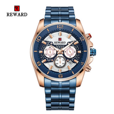 REWARD Quartz Mens Stainless Steel Watches , Analog Sports Wrist Watch Alloy Case