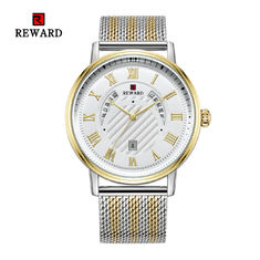 Mesh Strap Mens Watches Quartz Stainless Steel Mineral Crystal Glass With Date