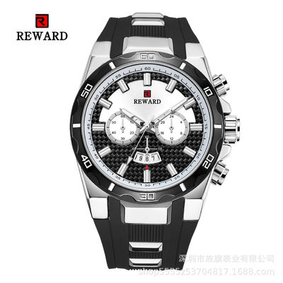 Silicone Band Mens Stainless Steel Watches Fake Chronograph With Big Face