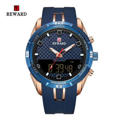 China Led Display Sport Mens Stainless Steel Watches Alloy Case With Silicon Band supplier