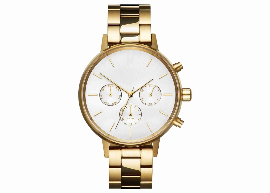 Gold plating stainless steel chronograph watches singapore movement
