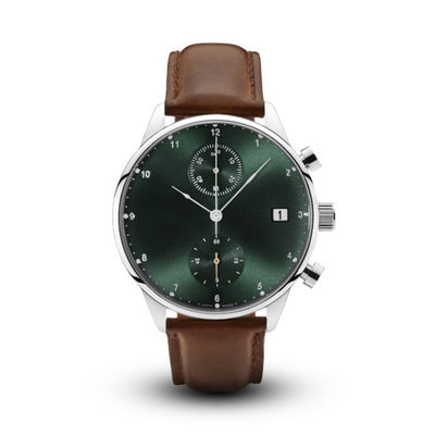 China High End Mens Watches Brown Leather Strap With Green Sunray Grain Dial factory