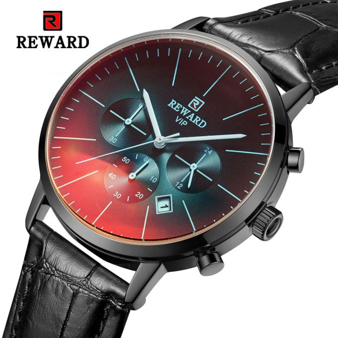 Chinese wholeasale 45mm big dial black leather strap mens metal watches